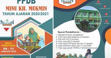 PPDB MINU KH. Mukmin Tahun Ajaran 2020/2021