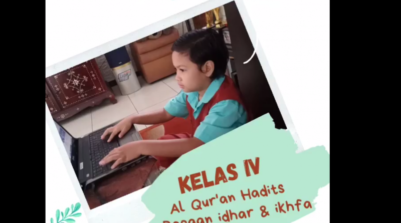Siswa kelas IV sedang belajar Al Qur'an Hadits, tentang bacaan idhar dan ikhfak